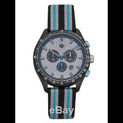Mercedes Benz Original Bracelet Hommes Motorsport Chrono Bleu Argent Charbon