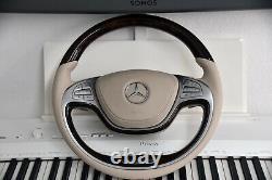 Original Mercedes-Benz Bois Cuir Volant CLASSE S W222 X222 Noyer Brillant